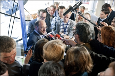 President Martin Schulz addresses reporters at the Parliament